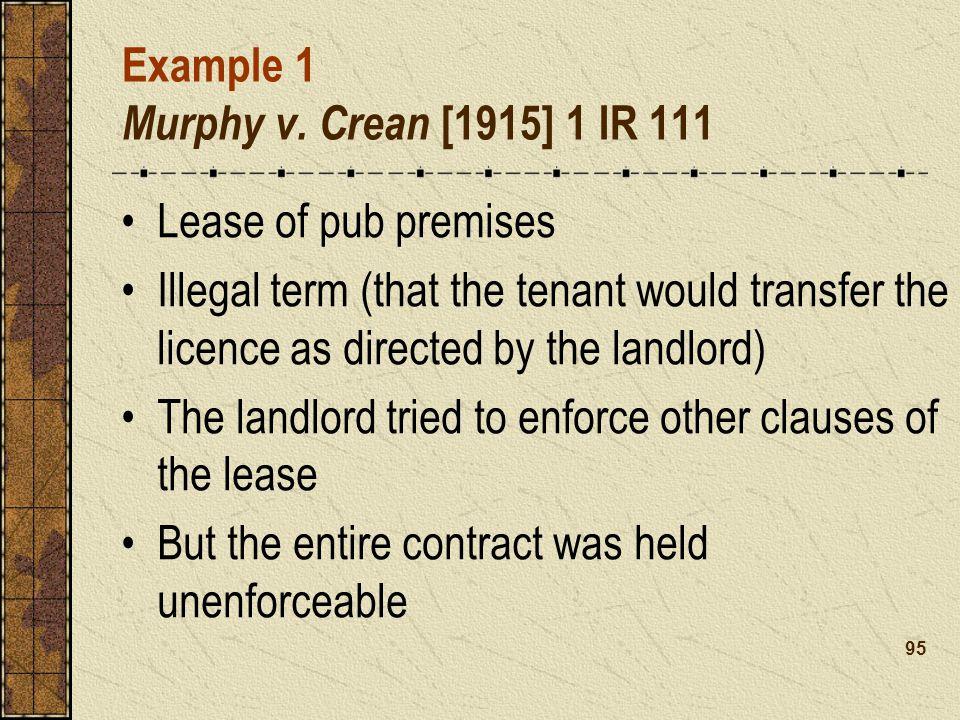 Example 1 Murphy v. Crean [1915] 1 IR 111